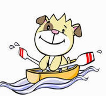 Cartoon dog rowing