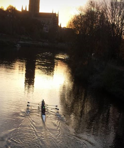Rowing near Worcester Cathedral on the Severn