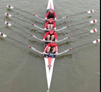 WRC J18 4x- winning at the Head of the Severn
